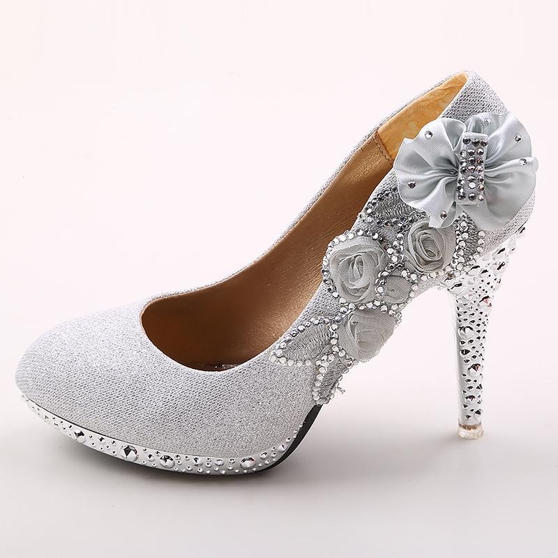 Bridal Shoes Silver: 4 Inch High Heels Wedding Shoes Lady Formal Dress Women'S