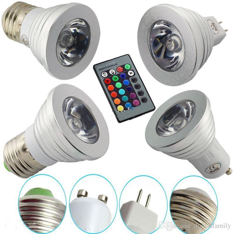 Avec Changeantes E14 Rvb 3w 16 Gu10 Gu5 265v Télécommande Lampe Mr16 Touches 24 Led Projecteurs E27 Acheter 3 85 Couleurs Ampoule TcKulJ351F