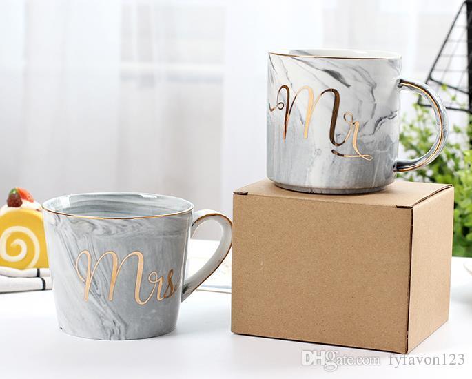 Kupalar Mermer Desen Seramik Kupası Altın Mektubu Yaratıcı Kahve Kahvaltısı Süt Kupası ve Seyahat Kupa A88