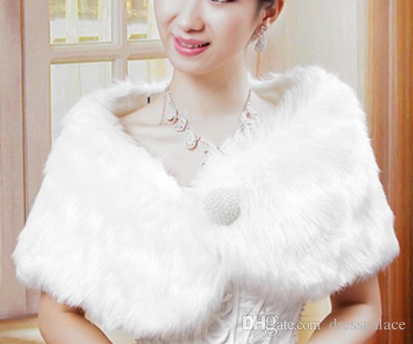 Livraison Gratuite Perle Fausse Fourrure Châle Détail Perles Boutons De Mariée Wraps Vestes En Gros Accessoires De Mariage