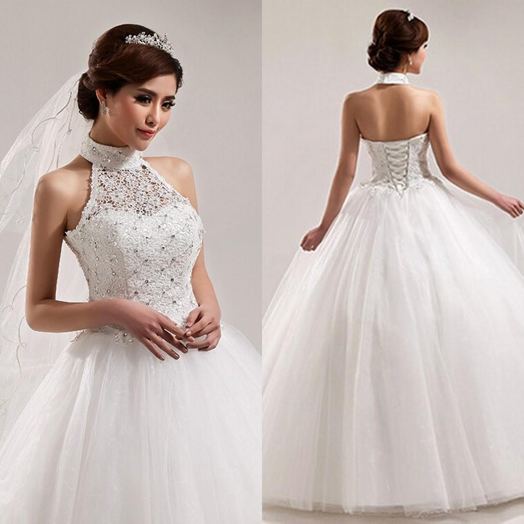 2015 Luxury Ball Wedding Dresses Halter Neckline Beaded Lace Top ...