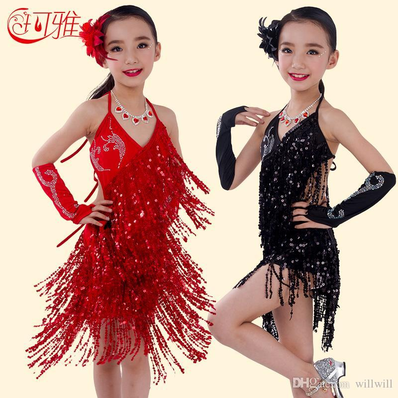 85b81123b8042 2019 Dancing Dress Children Latin Dance Dress For Kids Performance Wear  Latin Sequin Tassel Fringed Dance Costume Girls Skirts With Flower From  Willwill, ...