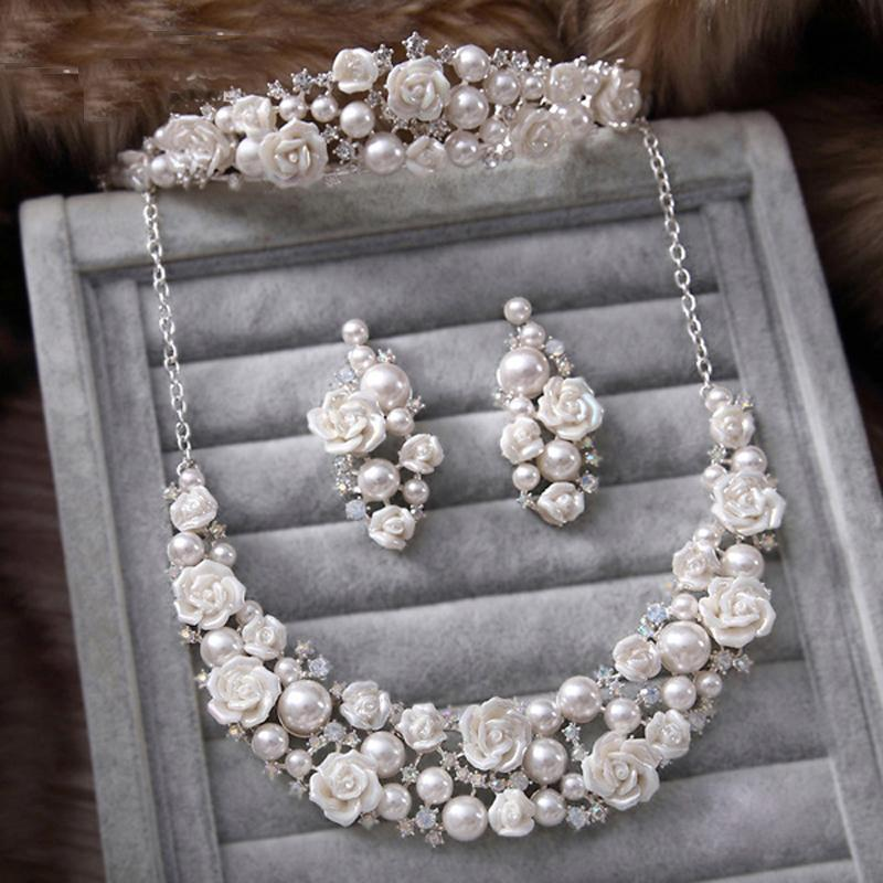 Fashion Wedding Jewelry Sets Imitation Pearl Rose Flower Romantice Style Silver Plated Rhinestone Wedding Accessory