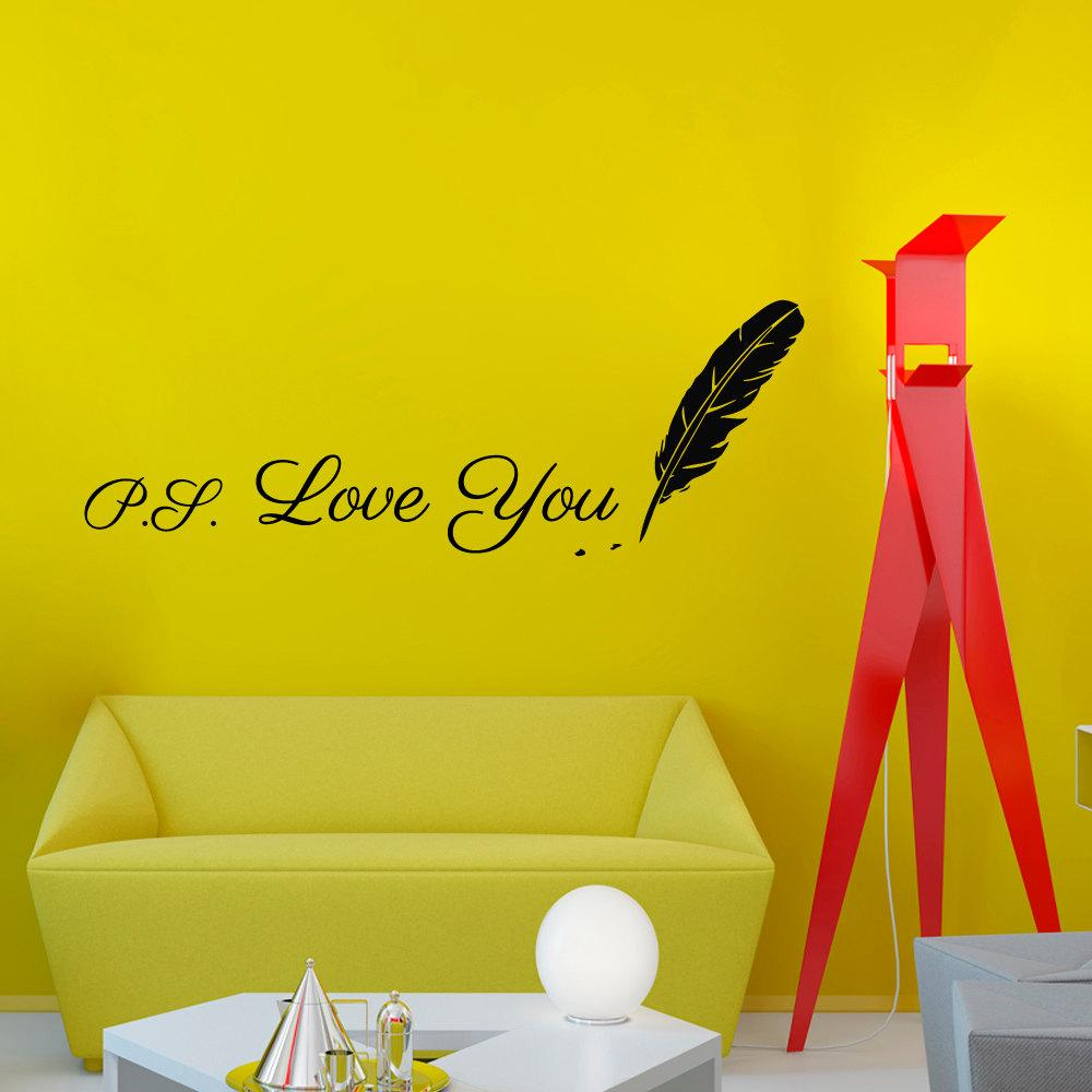Writing Ps Love You Feather Wall Sticker Design Vinyl Removable Creative  Home Decor Living Room Wall Decal Personalized Wall Stickers Polka Dot Wall  Decals ... Part 31