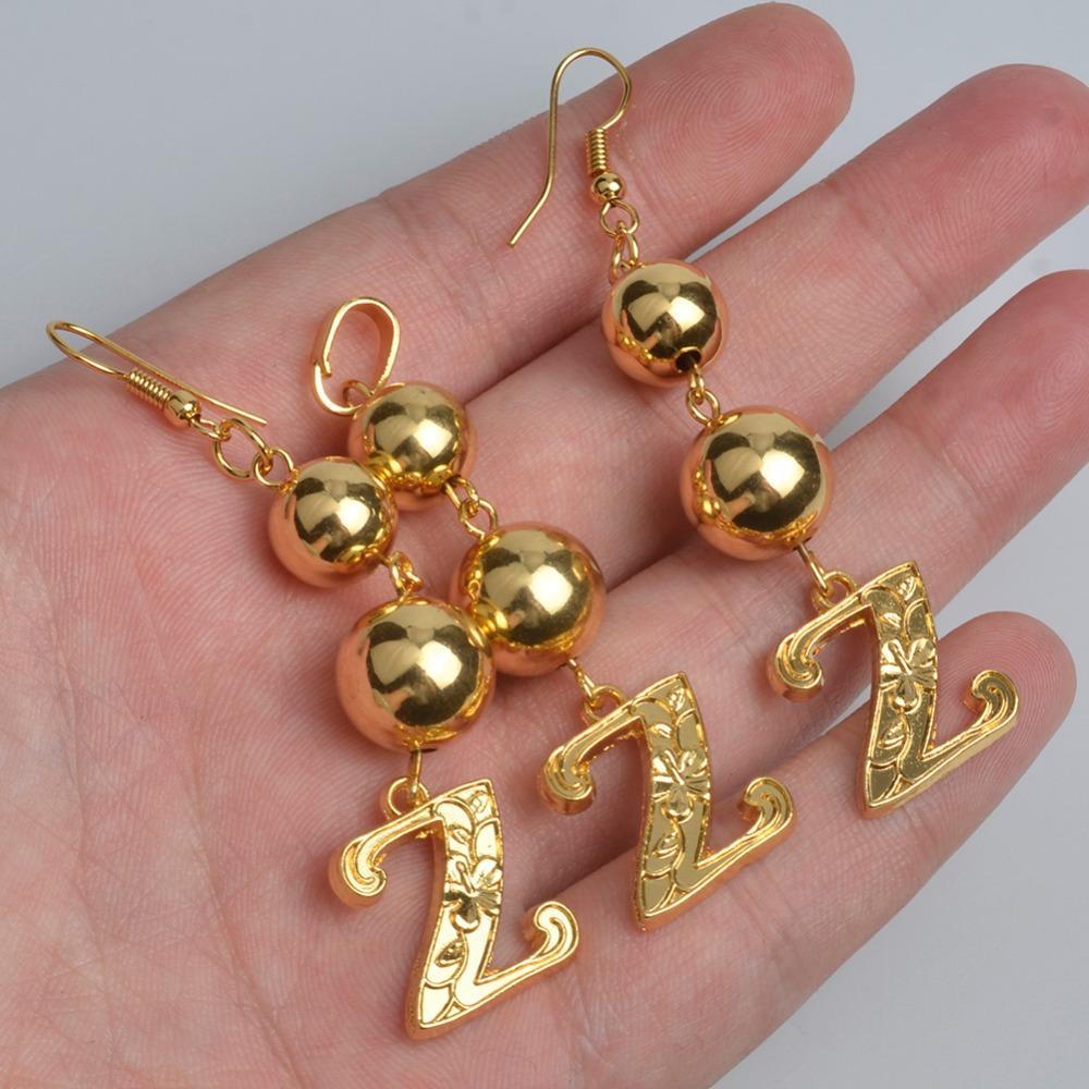 Anniyo A-S 골드 컬러 문자 구슬 펜 던 트 귀걸이 초기 체인 여성, 볼 목걸이 영어 편지 보석 # 069206 19