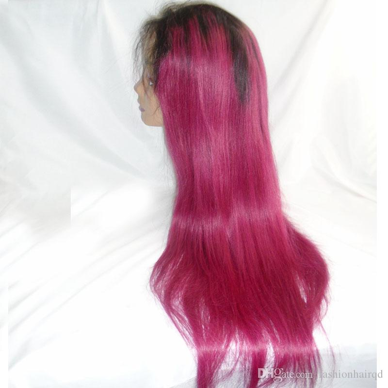 Two Tone Ombre Glueless Full Lace Wigs With Baby Hair T1b Red Straight Brazilian Virgin Human Hair Lace Front Wigs Natural Hairline