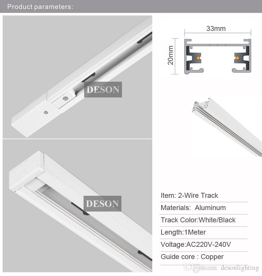 DHL 1 M LED Işık parça Raylı Bar Alüminyum Evrensel Spot Raylı Lamba T Parça Aydınlatma Sistemi Armatürleri Rayları 1 Faz Devresi 2 Tel Beyaz Siyah