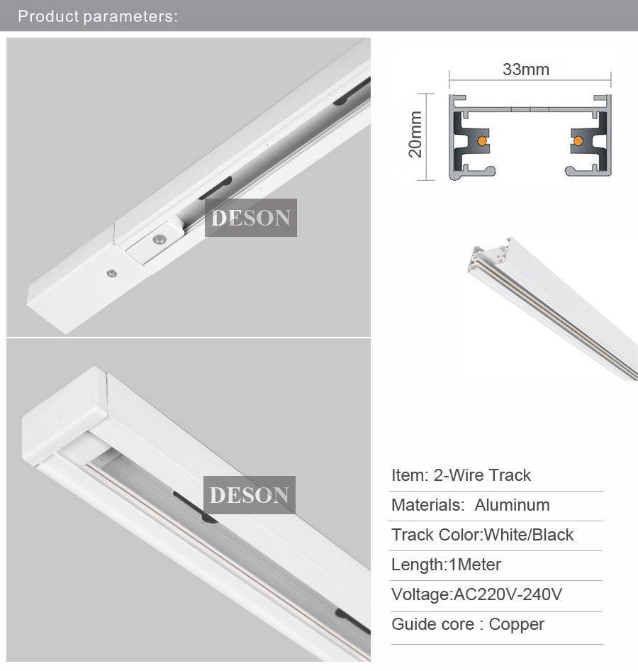 DHL 1 M LEVOU Barra de Trilho de Luz Trilho de Alumínio Universal Spot Rail Lâmpada T Sistema de Iluminação de Trilhos Luminárias Trilhos 1 Fase Circuito 2 Fio Branco Preto