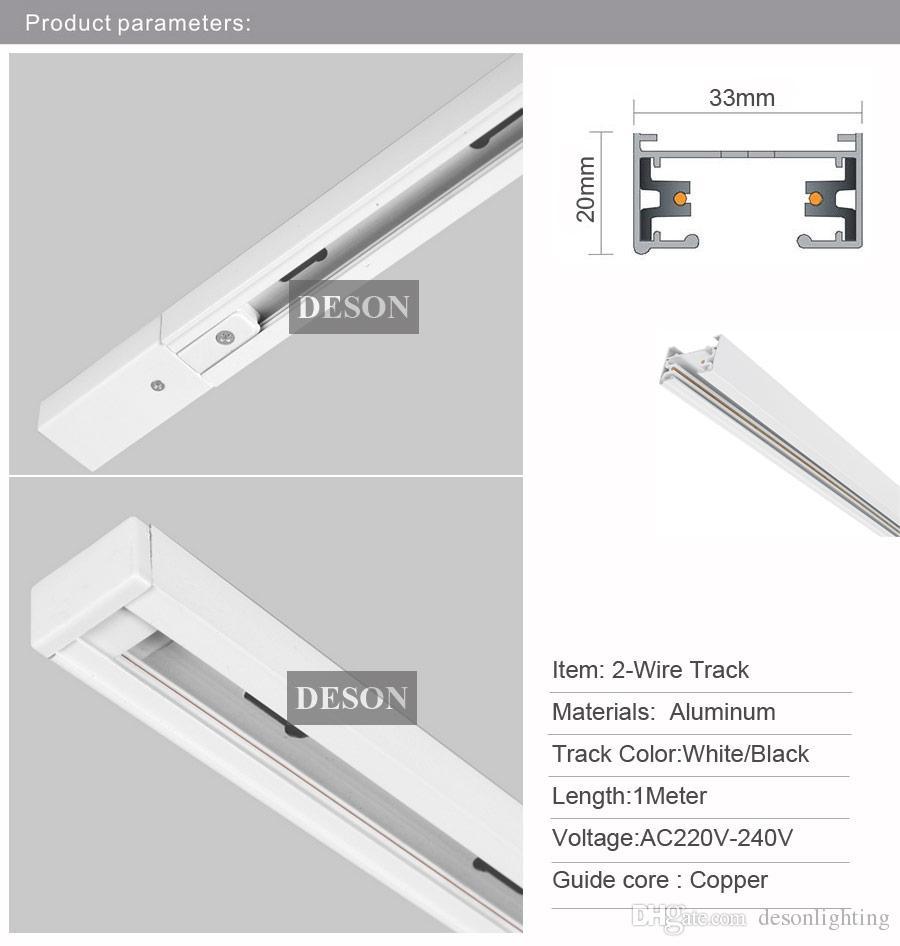 DHL 1 Mt LED Lichtschiene Schiene Aluminium Universal Spot Schienenlampe T Schienenbeleuchtung Leuchten Schienen 1 Phase Stromkreis 2 Draht Weiß Schwarz