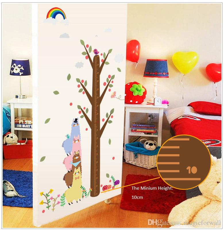 New Arrival Cute Cartoon Alpaca Growth Charts Wall Decal Decor Lovey Rainbow and Flowers Height Measurement Wall Art Mural Sticker