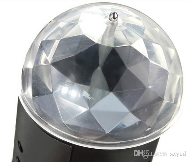 Auto Rotating 3W RGB Light Lamp Voice-activated Crystal Magic Ball Laser Stage Light for Party Disco DJ Bar Bulb KTV Lighting Show