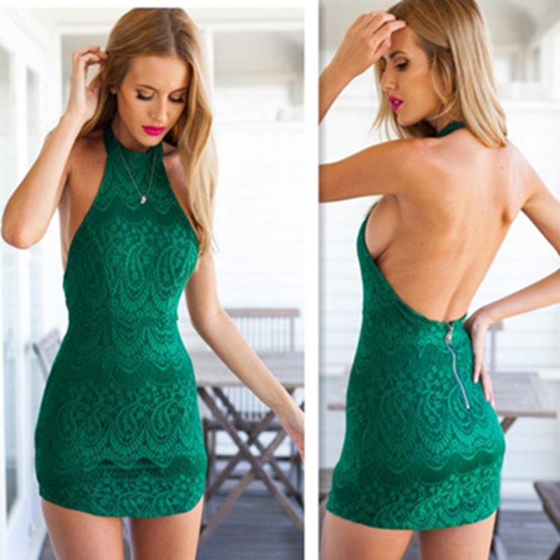 Racerback Lace Halter Neck Sleeveless One Piece Dress Sexy Lace ...