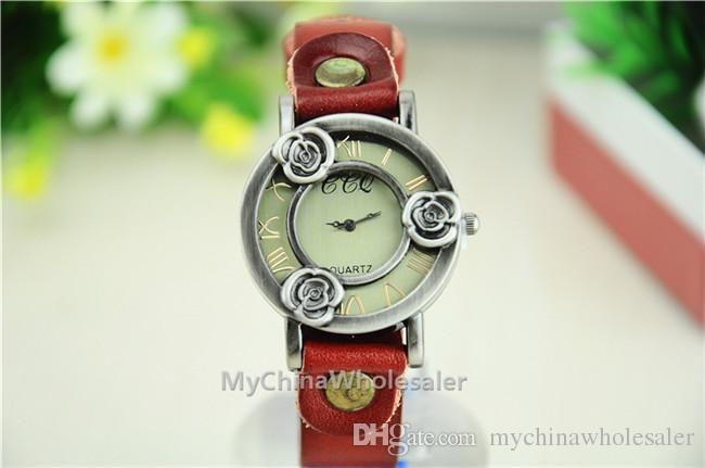 고품질 빈티지 시계 여성 정품 가죽 포도 나무 시계, 가죽 크리스마스 선물 보석 아날로그 청동 캐주얼 시계의 경우 밴드 손목 시계