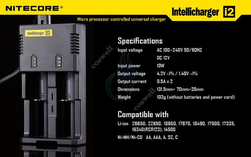 Nitecore i2 العالمي شاحن ذكي ل 18350 18450 18650 14500 26650 تعديل البطارية لنا المملكة المتحدة الاتحاد الافريقي التوصيل mod mod شواحن dhl