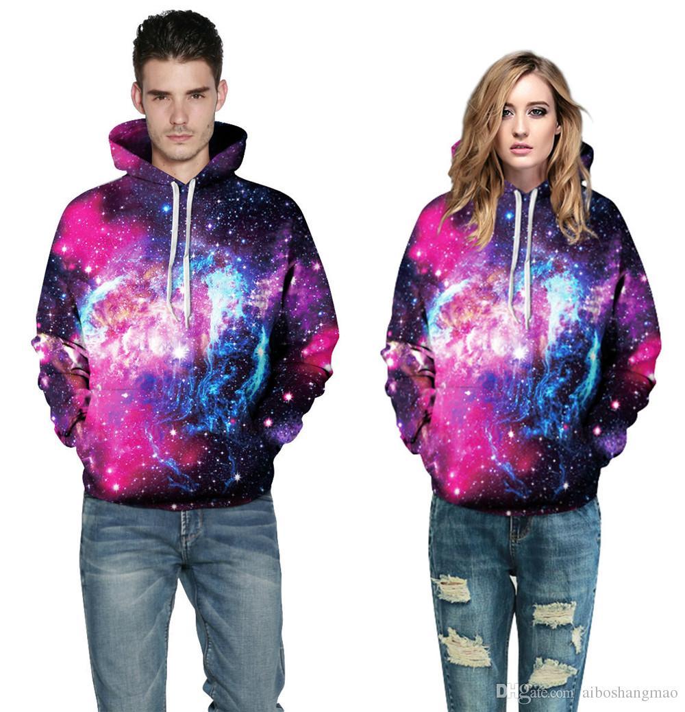 AIBO New Style Psychedelic Nebula Doodle Unisex Realistic 3d Digital Pullover Hot Sale Sweatshirt Hoodie Hooded Sweatshirt