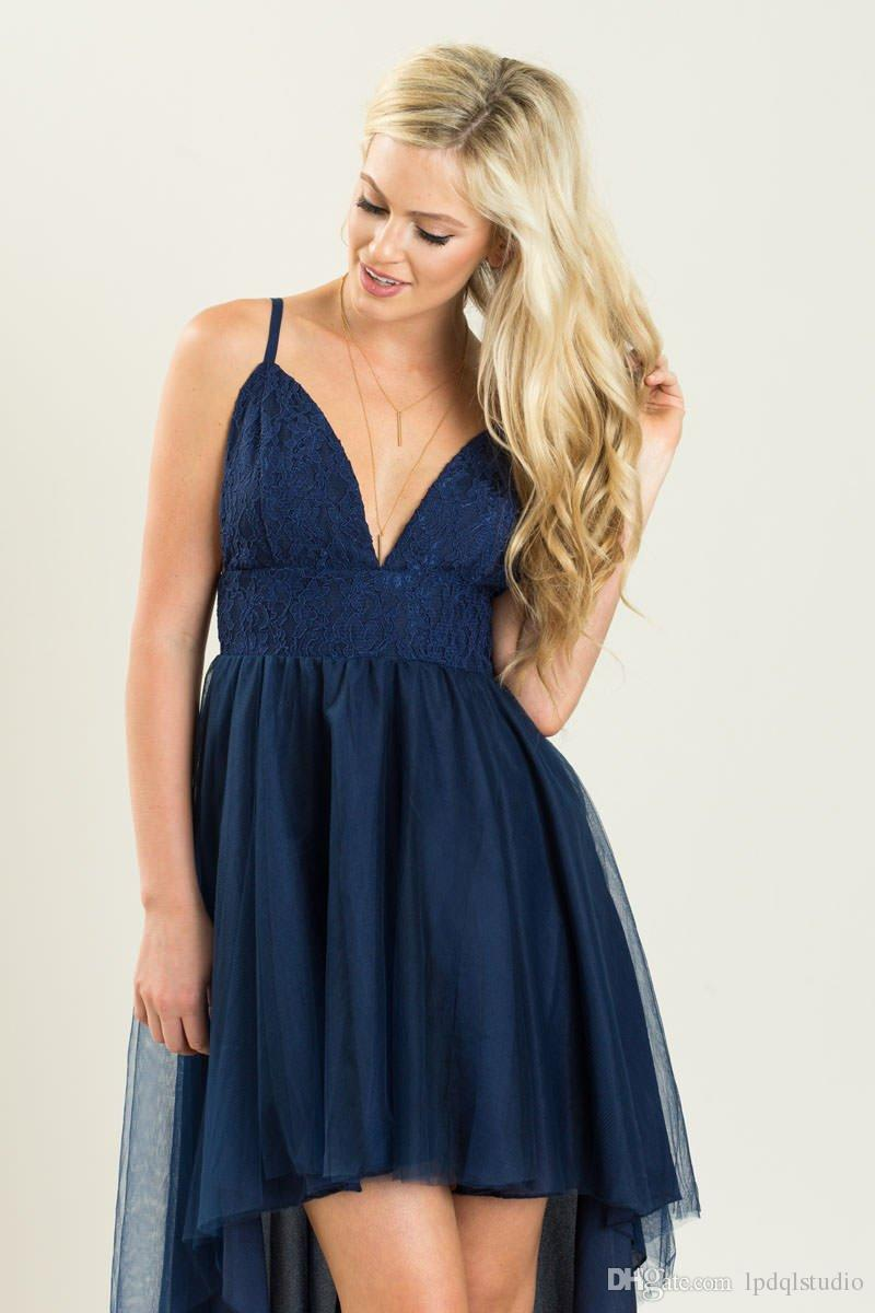 Sexy Navy Bridesmaid Dresses Hi Lo Lace Top Sexy Backless Long Bridesmaid Gowns Wedding Party Dresses