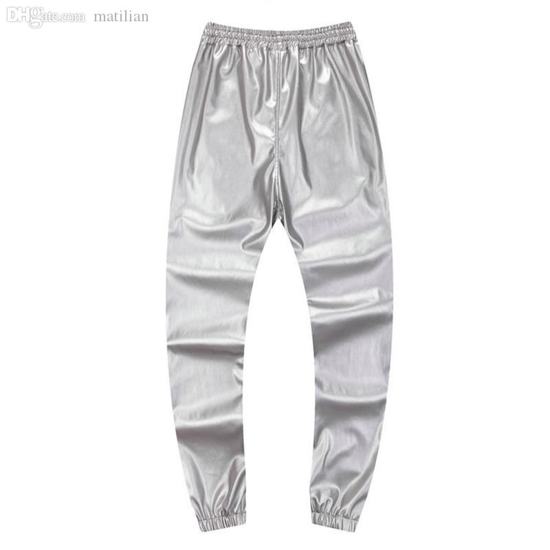 1253b1bb1074bf 2019 Wholesale Autumn Winter Men Hiphop Dance Pants PU Leather Joggers  Black Red Silver Mens Joggers Casual Sweatpants Hip Hop Sweat Pants From  Matilian, ...