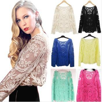 bf7c0ff84f7348 2019 2015 Women S Semi Sexy Sheer Sleeve Embroidery Floral Lace Crochet Tee  T Shirt Top T Shirt Retro Plus Size Clothes From Shenyan02