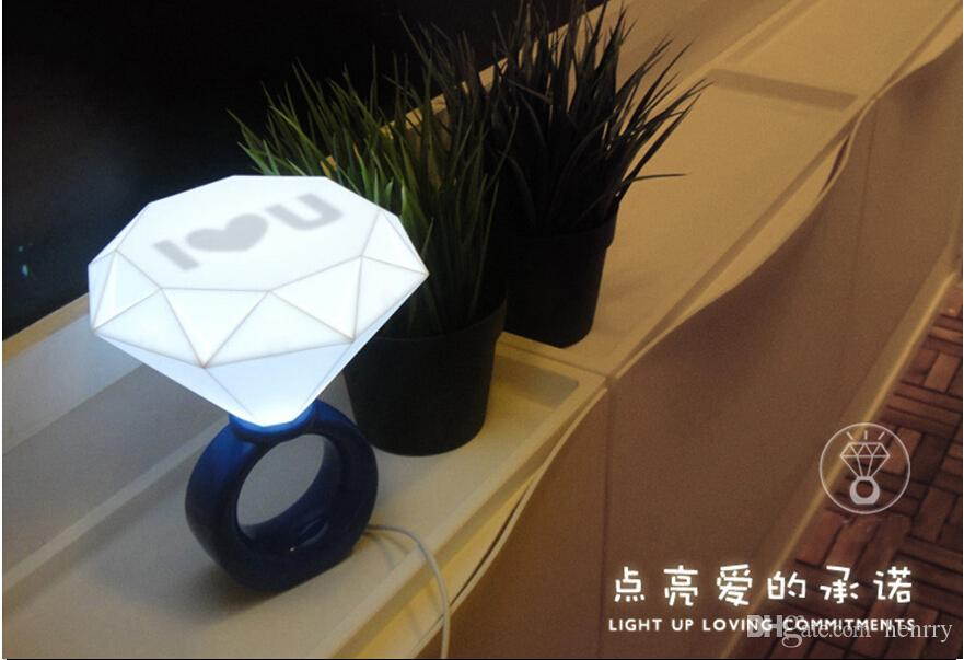 LEDリングライトロマンチックなカップルナイトライト6ピースAバッグ、バレンタインデーギフトアイデアダイヤモンドライト、USB¥ランプ