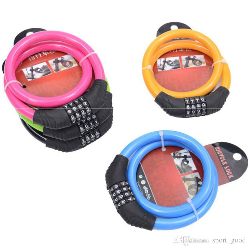 Bicycle accessories four password code lock colorful portable circle lock security wire lock riding equipment bike locks for sale