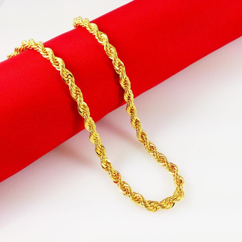 Personnalisé 5mm Rose Jaune Or Filled Mens Chaîne Femmes Unisexe Cut Flat Curb Lien 18K En Gros Collier