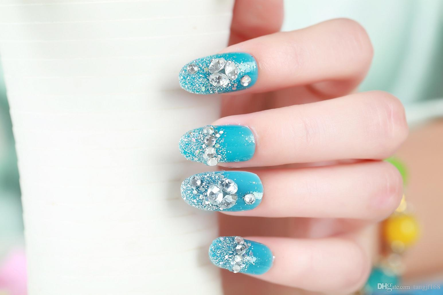 2015 hot sales False Art nail art Design Tips French Decorated Fake ...