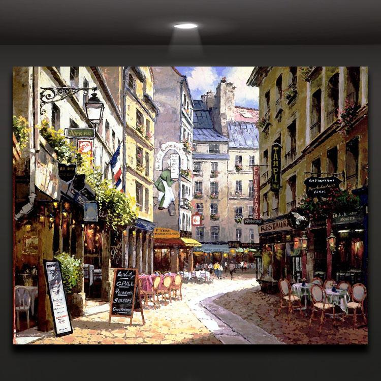 Europe Street Coffee Shop Picture Printed on Canvas Modern Oil Painting Wall Decorarion for Hotel Restaurant Cafe