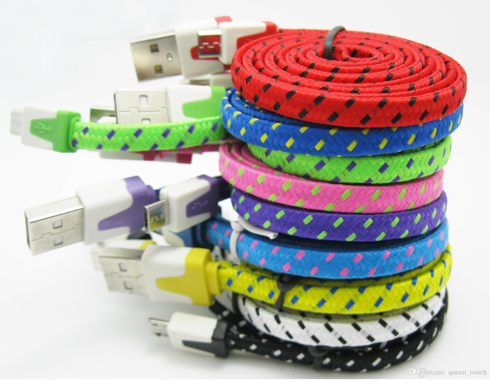 Noodle Flat Braided Micro Usb Cable Dual Color 1m 2m 3m V8 Wiring Cables Data Charging Adapter For Samsung Galaxy S4 100pc