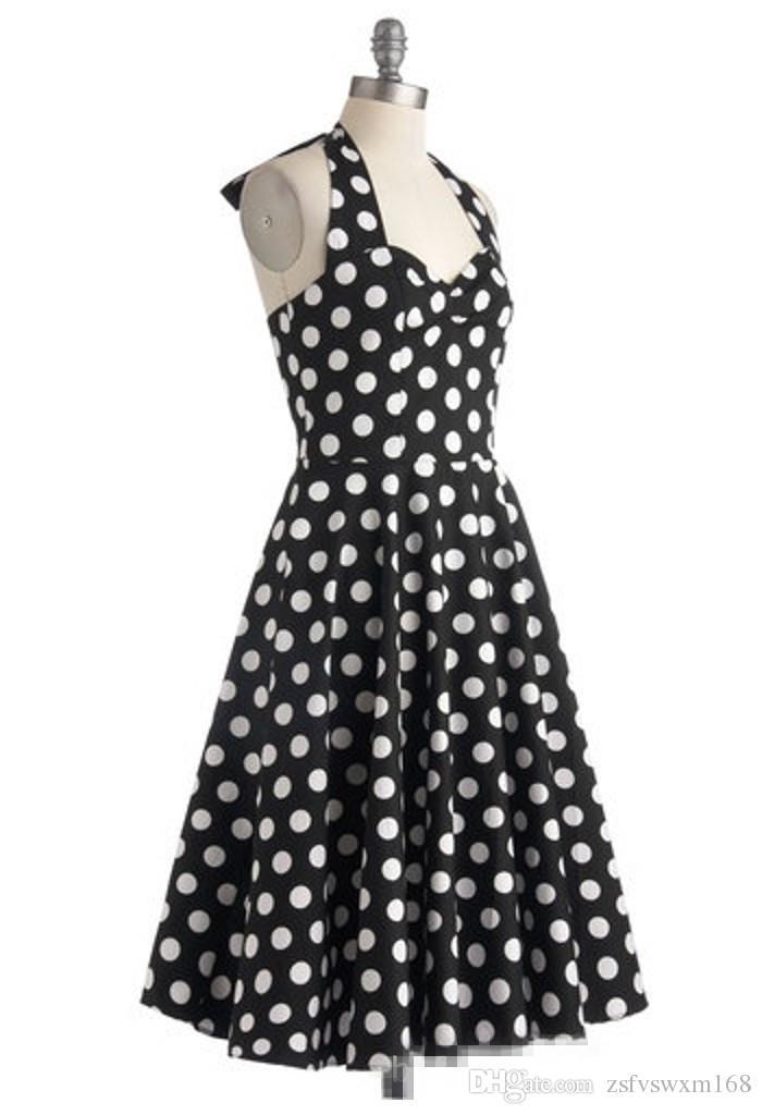 هيبورن نمط الرجعية اللباس البولكا نقطة ضئيلة تنورة كبيرة توتو تنورة اللباس شنقا الرقبة المحملة