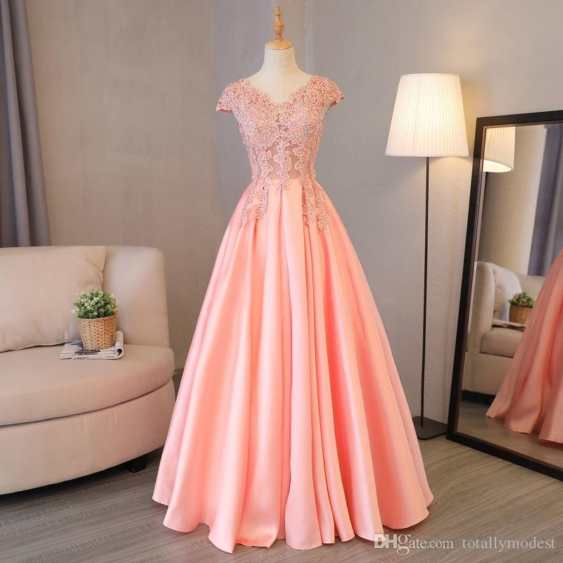 New Coral Satin Skirt Long Modest Prom Dresses With Cap Sleeves V Neck Beaded Lace Corset Back A-line Floor Length Teens Party Gowns