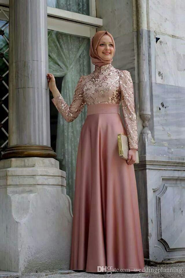 Soiree hijab 드레스 높은 목 롱 슬리브 Vestidos 2016 라인 로브 드 Soiree 골드 아플리케 새틴 우아한 아소 Ebi 긴 이브닝 드레스
