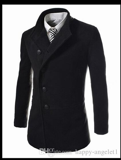 تناسب 2015 رجال موضة جديدة خندق معاطف الكورية سليم الأعمال الصوف المخلوطة عارضة أبلى الملابس الرجالية للمعطف الخريف الشتاء @ 1242