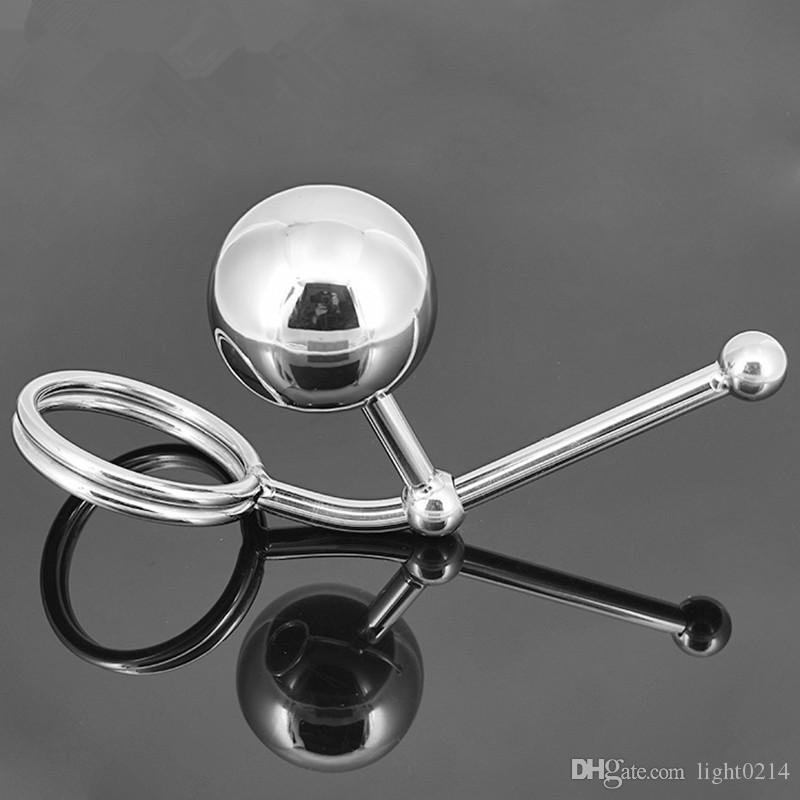 Wholesale Stainless Steel Hollow Hook Anal Ball with Cock Ring Men Anal sex Plug Chastity Device Double Balls Styling Tools A12