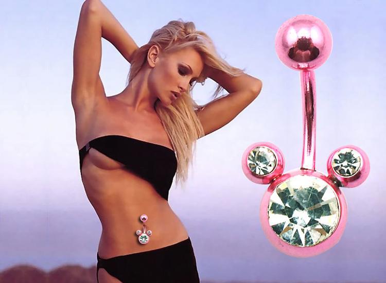 Brand New Fashion Belly Button Pierścienie Pink Double Ball Pępek Klamra Body Piercing Biżuteria Hurtownie DQK0816