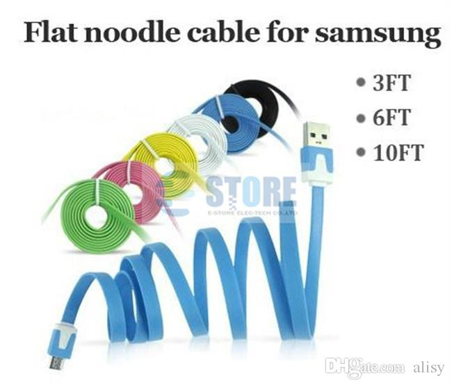 1M 3FT 2M 6FT 3M 10FT Flat sync data charge cord extra long Noodle Micro USB 2.0 cable For samsung S5 S4 S3 LG HTC Sony blackberry Nokia,M