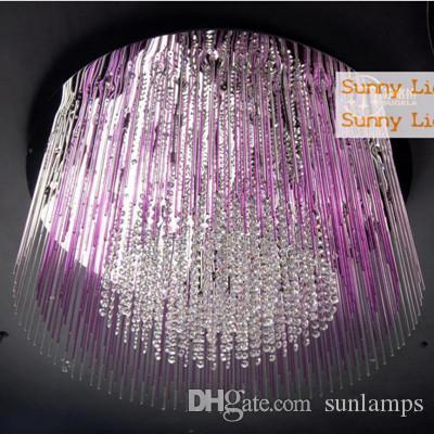 2018 Modern Led Large Multicolor Crystal Light Ceiling Lamps Purple ...