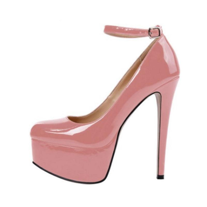 Arden Furtado 2018 spring new style platform high heels 14cm pumps stilettos fashion buckle shoes for woman blue pink nude dress party shoes