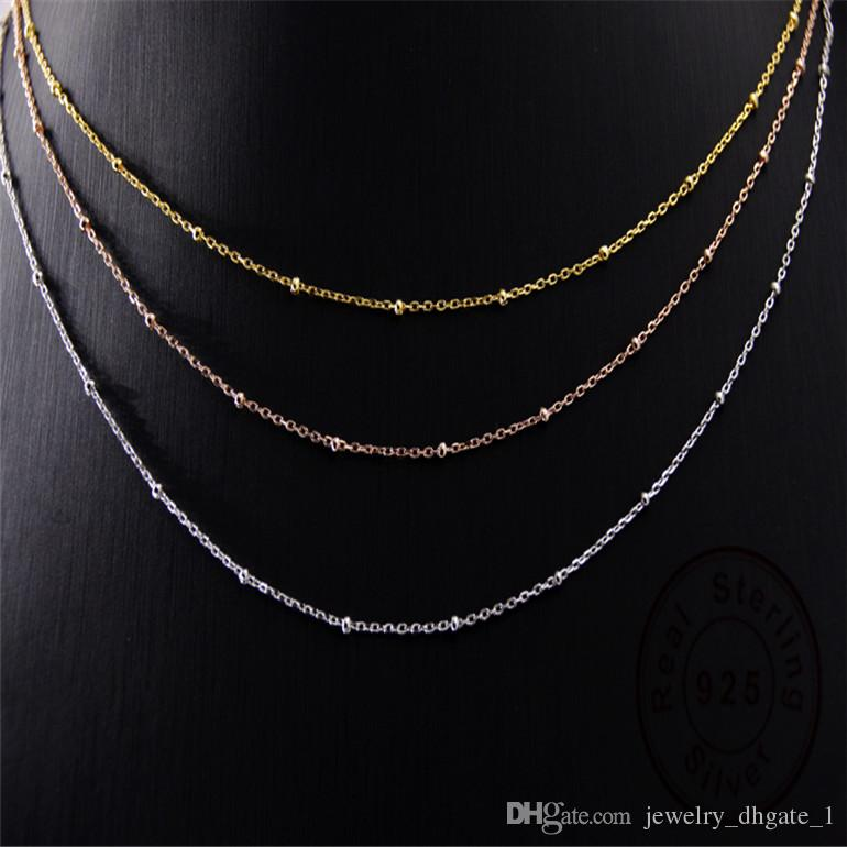 Authentic 925 Sterling Silver chain Fit DIY necklace jewelry gold and silver and rose gold Chain long chain