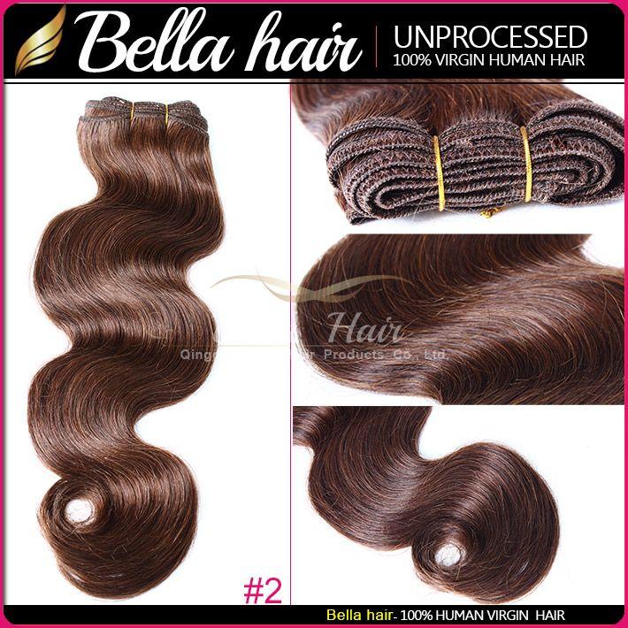 8A Body Wave Brazilian Malaysian Indian Peruvian Dark Brown Black Hair Weave Human Hair Weft Bella Hair