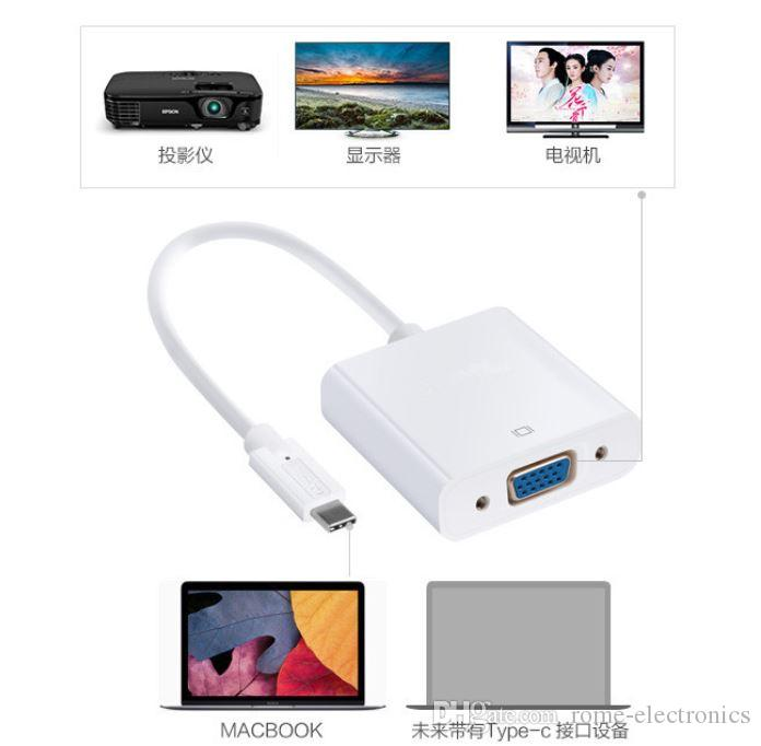 USB-C Type C USB 3.1 Male to VGA Female Cable 1080P HD Monitor Projector Adapter Cable for New Macbook Laptop Nokia N1