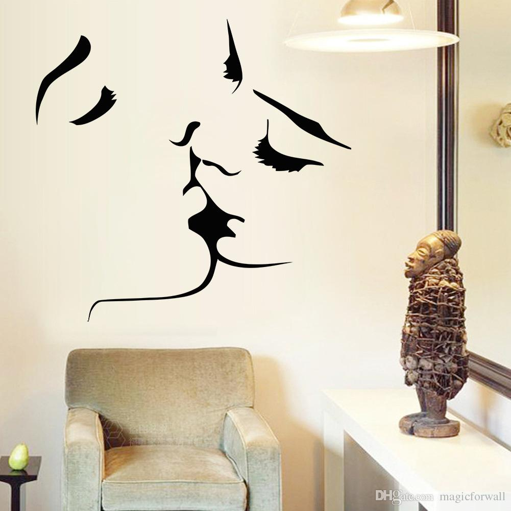Kissing Wall Art Mural Decal Sticker Valentines' Day Romantic Home Decor Living Room Bedroom TV Background Wall Applique