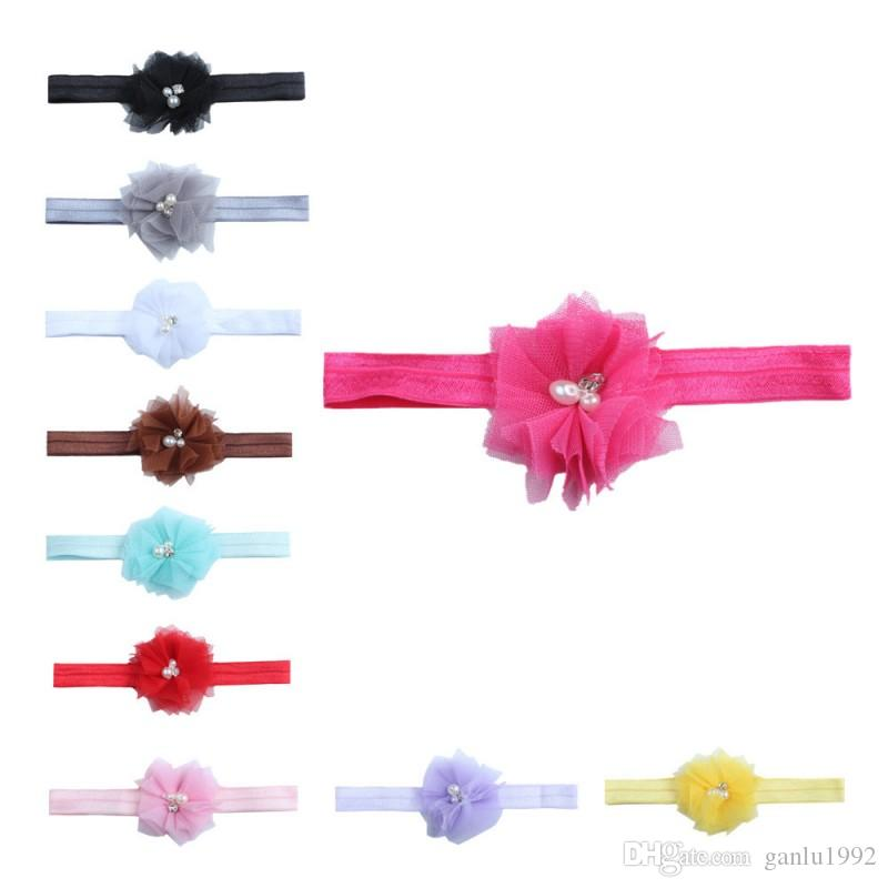 Fashion Pure Colors Headbands Net Yarn Flowers Elastic Hair Band With Pearl Diamond Baby Headwrap Popular 0 8ml B