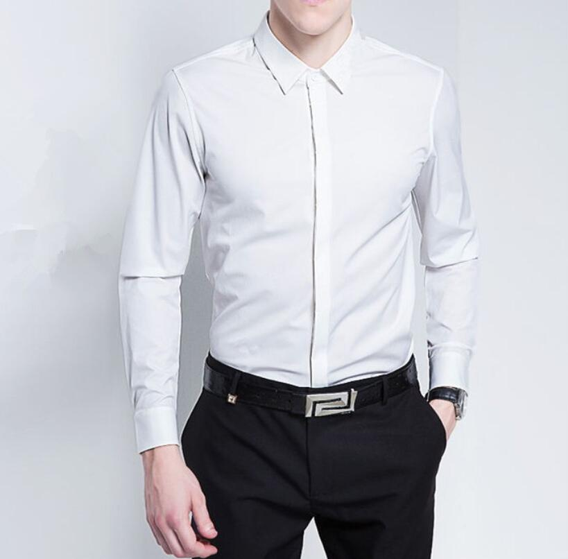 Business Mens Formal Shirt Pure Color Long Sleeve Mens Shirt ...