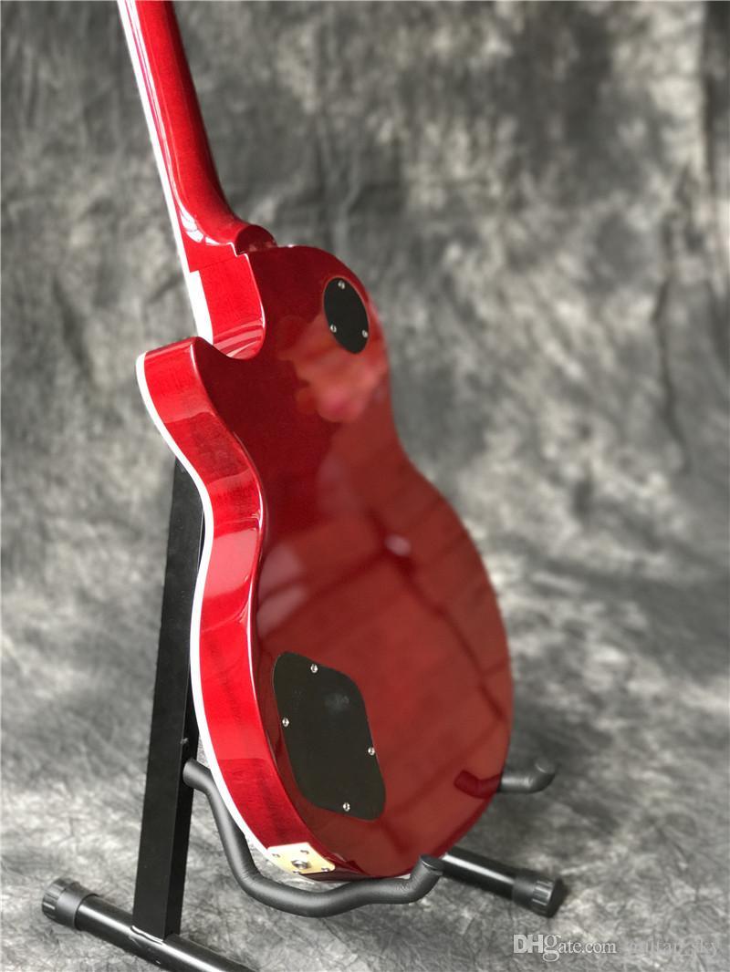 Vendita calda SLAS Chitarra elettrica con la cima dell'acero della fiamma in colore rosso, tastiera di palissandro e tastiere di ferita frontale Guitarra