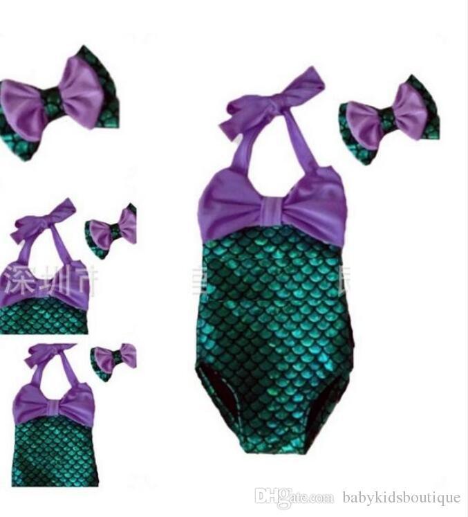 أطفال بيكيني للبنات ملابس الأطفال حورية البحر الجديد مع كبير القوس شاطئ الصيف أزياء الأطفال ملابس السباحة