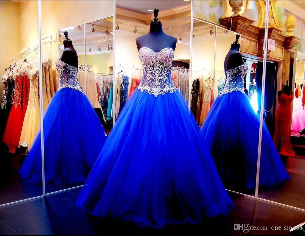 2016 New Bling Royal Blue Ball Gown Quinceanera Dresses Sweetheart Illusion Sweet Sixteen Prom Dress Crystals Rhinestones Long vestidos