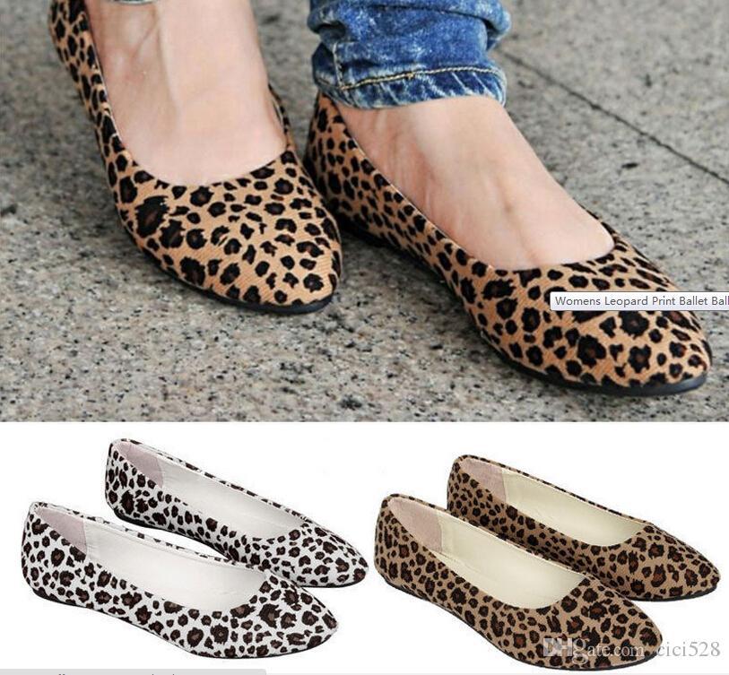 5a57a7b21dce Womens Leopard Print Ballet Ballerina Flat Pump Ballet Dolly Deck ...