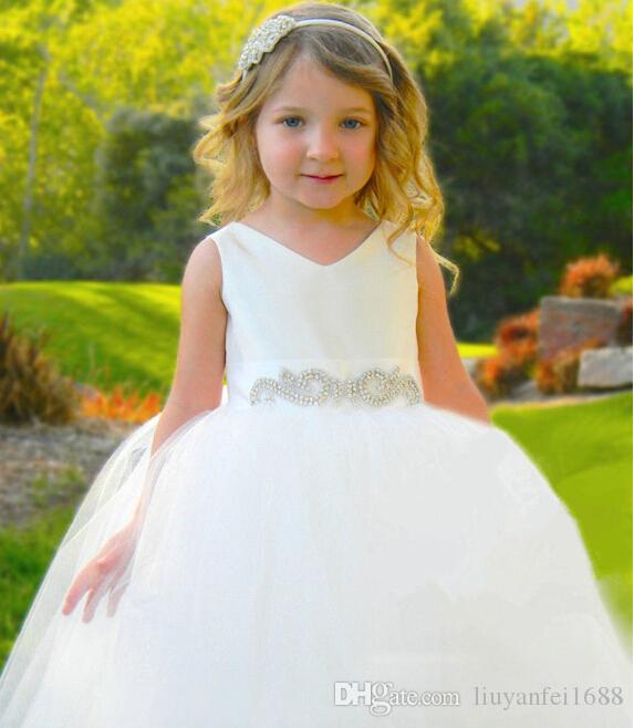 Contact Details White Cute Tutu Pageant Flower Girls Dresses Beads Crystals For Wedding Party Birthday Bow Ball Gown