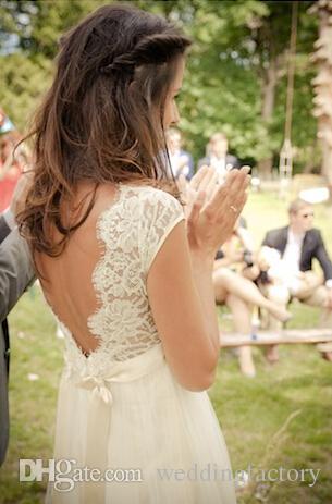2019 robes de mariée bohème vintage une ligne dos nu pure dentelle mancherons robes de mariée avec col en V perlée ceinture ceinture pays mariées balayage train