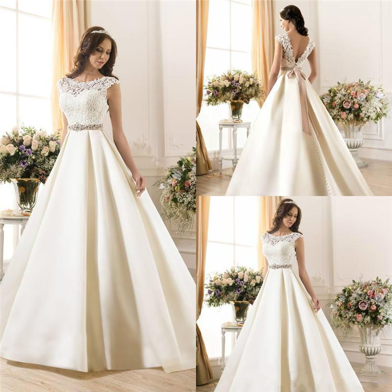 Discount New Arrival Sheer Lace 2015 Wedding Dresses A Line Satin Beads  Sash Low Zip Back Ivory Spring Capped Bridal Gowns Ball Dress Wedding Style  Buy ... 1ca94813b270